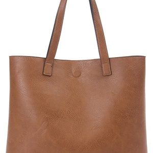 GH Bass & Co Leather Shoulder Tote Bag Carmel Tan
